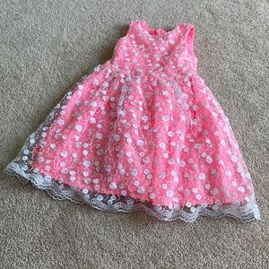 Sleeveless Pink Lace Party Dress 4T